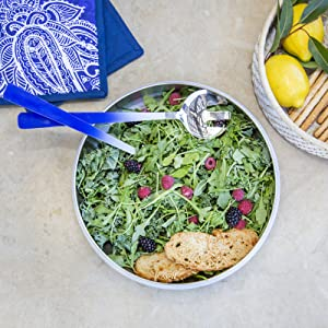 salad bowl serving utensils pasta tongs salad servers bread basket trivet pot holders blue white