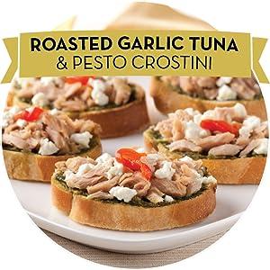 Roasted Garlic Tuna and Pesto Crostini