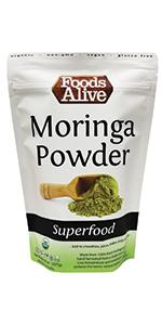 Organic, Plant-Based Moringa Powder - Great for tea - Foods Alive
