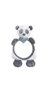Wei/ß//Dunkelgrau Nattou Nackenkissen Panda Loulou Loulou Lea und Hippolyte 19 /× 23 /× 10 cm F/ür Babys ab 0 Monaten