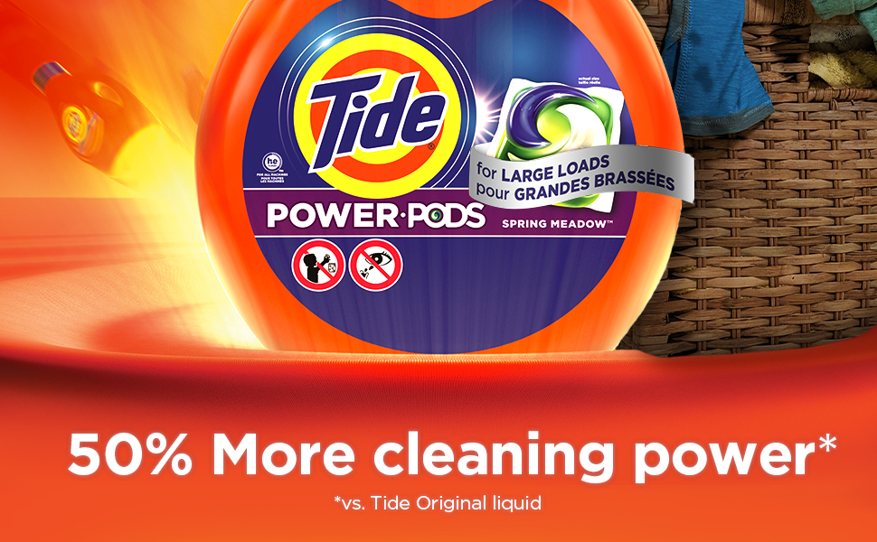 The new Tide Power PODS Spring Meadow laundry pacs have 50% more cleaning power