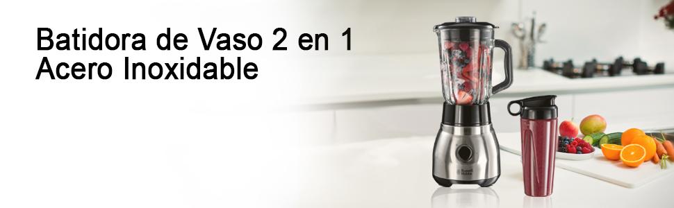 Russell Hobbs - Batidora de Vaso 2 en 1 (Jarra de Cristal, Vaso ...