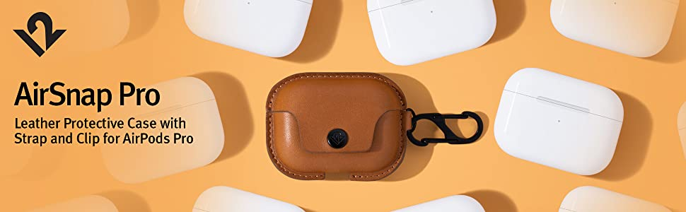AirSnap Pro leather protective case with strap and clip for airpods pro