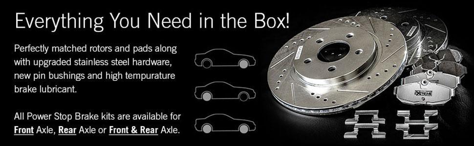 front brakes, rear brakes, front and rear brakes, stainless steel hardware, rotors and brake pads