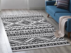 Indoor Rug, Living Room, Entryway, Bedroom, Kitchen, Jute Fabric, Flat weave pile, Tribal Rug