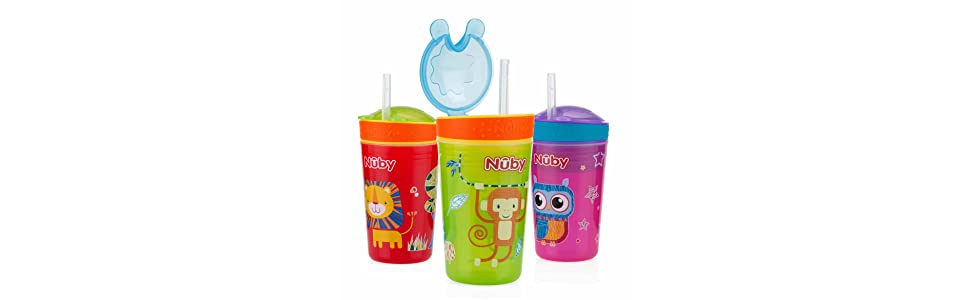 Loyal Nuby Sipeez Toddler Drinking Cup 18 Months Sippy Cups & Mugs Pretty And Colorful
