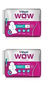 VWash Wow Sanitary Napkin Maxi L 5s (Pack of 12)