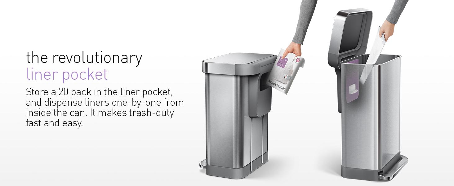 liner pocket trash can