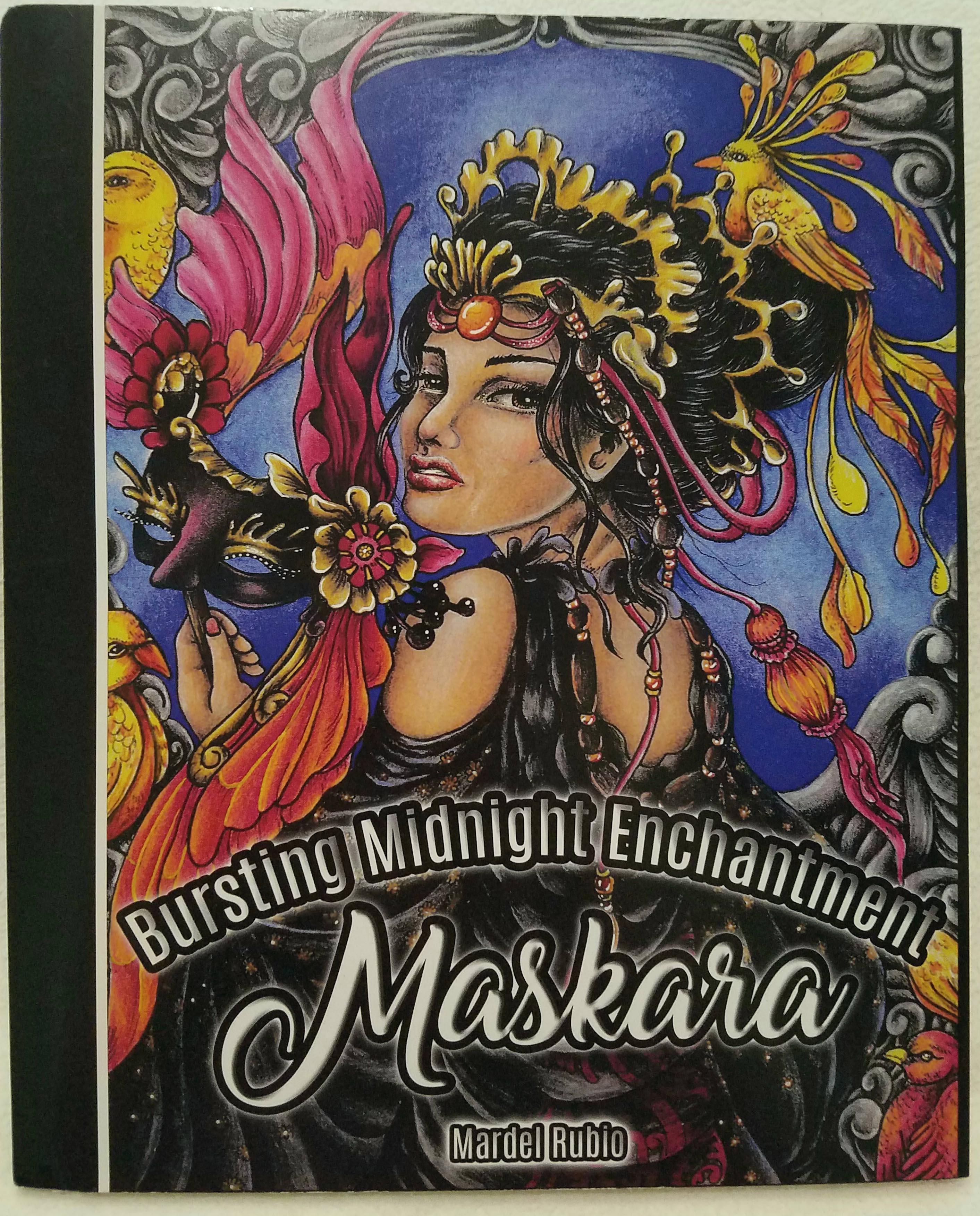 Maskara bursting midnight enchantment Dragon coloring book for adults midnight edition