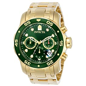 Invicta 0075 - Reloj para hombre color verde/dorado