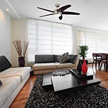 78171 Ventilatore da soffitto in ottone lucido 132 cm Monarch Trio kit...