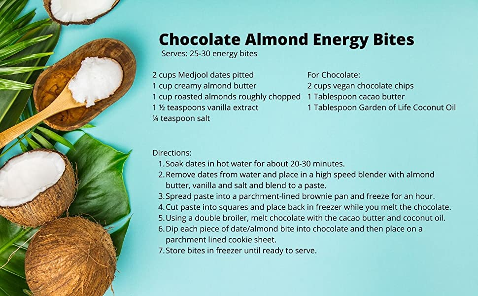 recipe for chocolate almond energy bites made with garden of life coconut oil