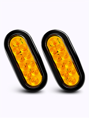 2 Years Warranty Nilight TL-08 6 Oval Amber Tail 2PCS 10 LED w//Flush Mount Grommets Plugs IP67 Waterproof Turn Signals Trailer Lights for RV Truck Jeep