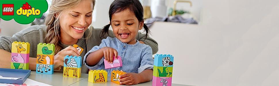 puzle-rosa-amarillo-verde-naranja-tigre-jirafa-cebra-cocodrilo-flamenco-apilamiento-lego
