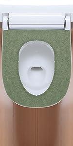 日本製 消臭 洗える サンコー ずれない トイレ 便座カバー 6mm グリーン ふかふか 大型 おくだけ吸着 KF-93