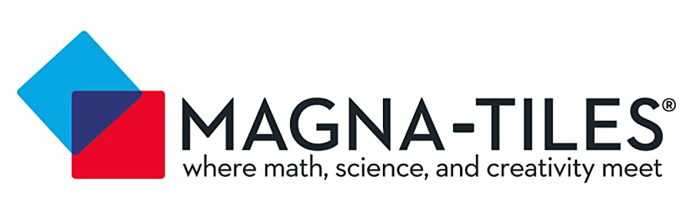 Company logo of blue and red squares reads Magna-Tiles where math, science, and creativity meet