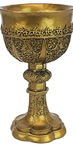 Design Toscano Calice Doré du Roi Arthur Décor Médiéval Sculpture de Gobelet Gothique