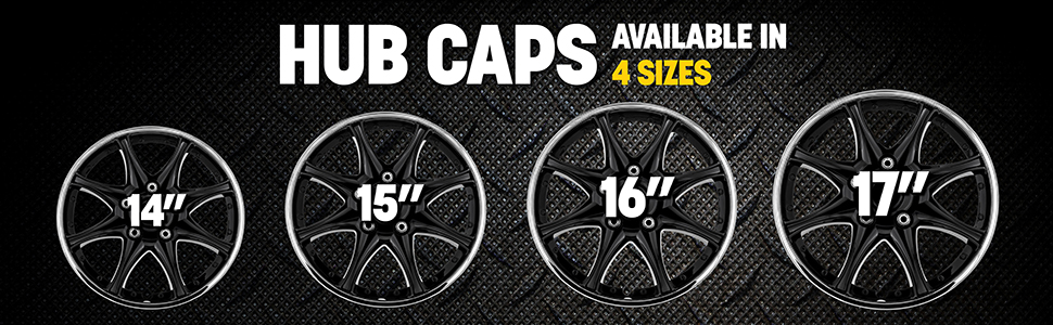 Pilot,black,chrome,hub cap,wheel cover,tire size,easy to install,upgrade your ride,universal fit