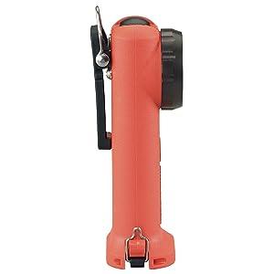 Streamlight Survivor Flashlight, side view, in International Safety Orange.