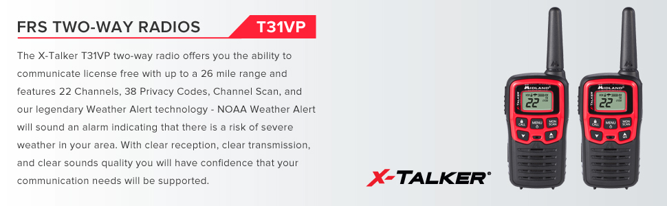 Midland - X-TALKER T31VP, 22 Channel FRS Walkie Talkie - Up to 26 Mile Range Two-Way Radio, 38 Privacy Codes, & NOAA Weather Alert (Pair Pack) ...