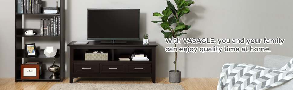"""VASAGLE ULTC03BR Television Cabinet, TV Stand Console, Entertainment Center  with 2 Open Compartments and 3 Drawers 47 2""""L x 15 7""""W x 21 7""""H Espresso"""