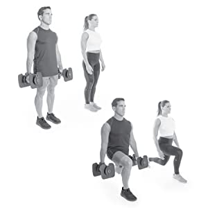 black and white picture of a man and woman doing lunges