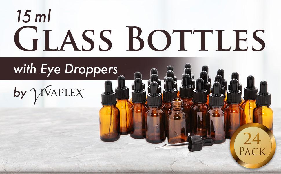 15ml Glass eye dropper bottles by Vivaplex