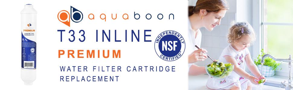 4PK Premium Aquaboon T33Inline Post//Carbon Polishing Water Filter Cartridge QC