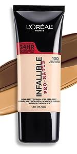 infallible pro matte foundation, loreal makeup, long wear matte foundation