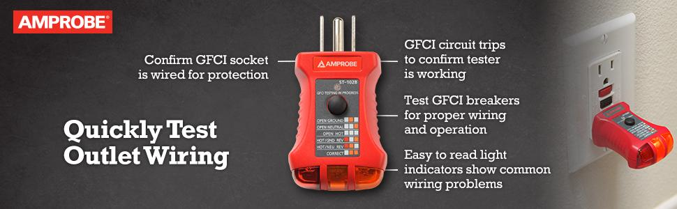 Amprobe ST-102B Socket Tester with GFCI on circuit breaker, ground and neutral, electrical conduit, extension cord, earthing system, electric power distribution, power cord, alternating current, electrical engineering, power cable, wiring diagram, distribution board, national electrical code, three-phase electric power, knob-and-tube wiring, electric motor, junction box,