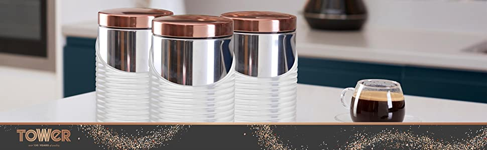 615853d2d699 Tower Linear Set of 3 Storage Canisters, Stainless Steel, White and ...