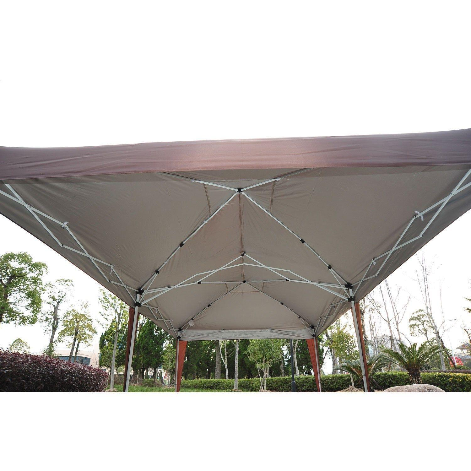 outsunny easy pop up canopy party tent 10 feet x 20 feet coffee brown garden. Black Bedroom Furniture Sets. Home Design Ideas