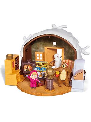 Simba - Masha et Michka - Hutte de Michka Hiver - Pliable - 9 Figurines  Articulées + 9 Bonhomme de Neige - 909309093WEB