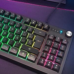 MARSGAMING MKREVOES, Teclado Gaming TKL + Pad Numérico, RGB Control, Layout ES
