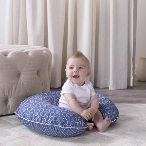 boppy pillow, nursing pillow, tummy time, propping, sitting, happy baby, modern blue elephants