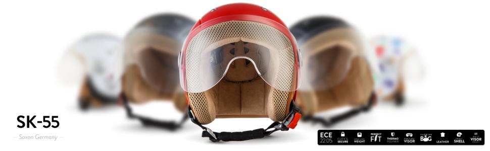 SOXON SK-55 Kids Snow /· Urbano Vintage NINOS Moto motocicleta Mofa Pilot Helmet Cruiser Vespa Kids Chopper Scooter Biker Casco Jet Mini-Jet Retro Bobber Urban /· ECE certificado /· visera incluido /· incluyendo bolsa de casco /&midd