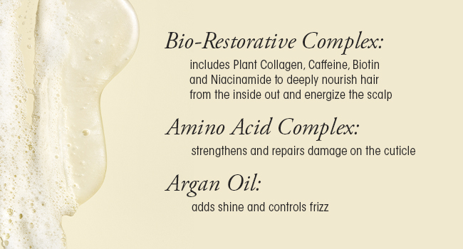 Modern, reparative ingredients combined with healing oils instantly restore strands.