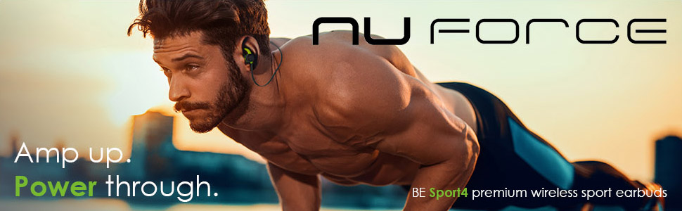 man working out and wearing nuforce be sport4 wireless bluetooth earphones