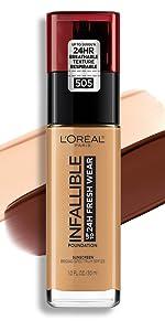 loreal makeup, loreal foundation, infallible foundation, long wear face makeup, lightweight