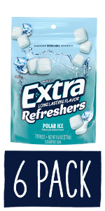 EXTRA Refreshers Polar Ice Chewing Gum, 120-Piece Bag (Pack of 6)