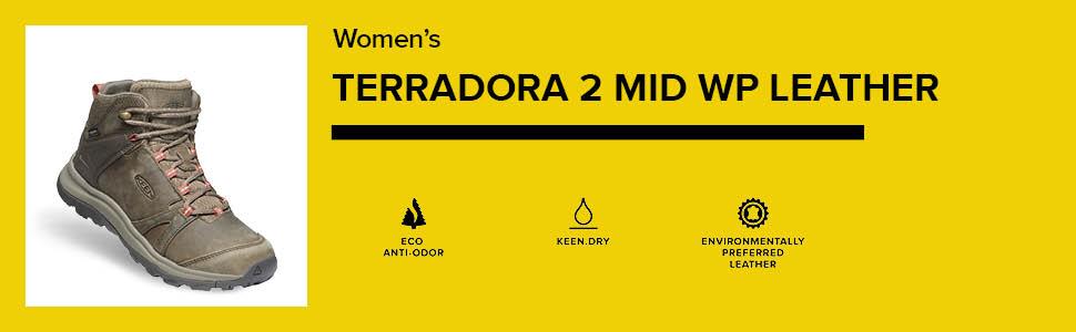 KEEN Women's Terradora 2 Leather Mid Height Waterproof Hiking Boot comparison chart hero