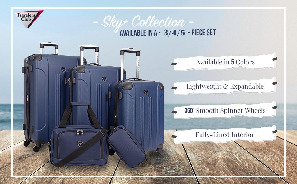chicago plus collection, 3piece, 4piece, 5piece, value set, colors, lightweight, expandable, travel