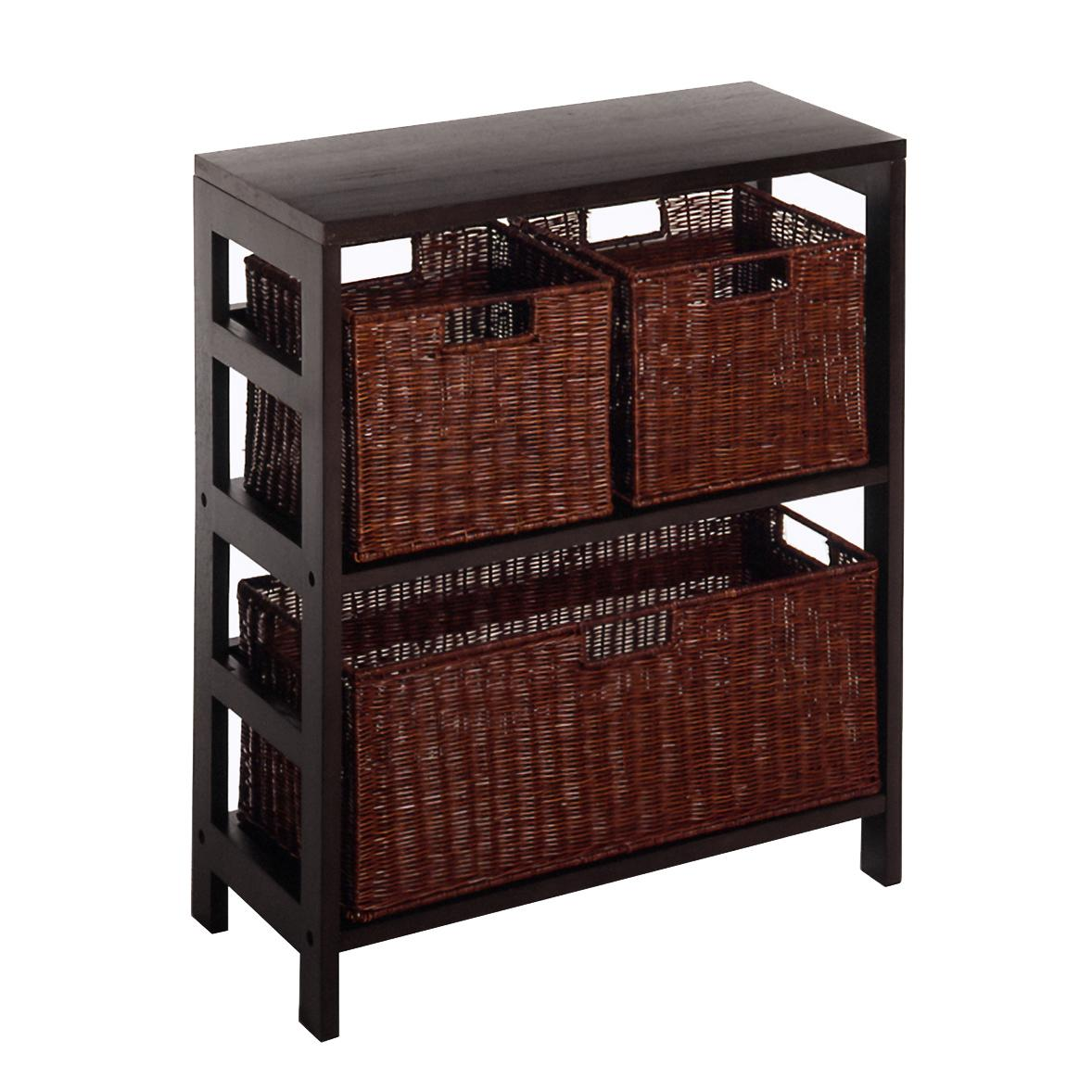 winsome wood leo wood 3 tier shelf with 3 rattan baskets. Black Bedroom Furniture Sets. Home Design Ideas