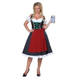 Oktoberfest Fille Costume Adult Red Gingham Shirt allemand Maiden Fancy Dress