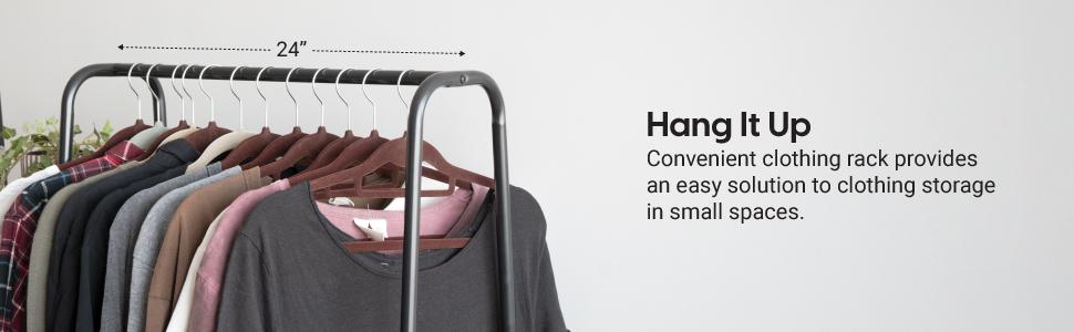 clothing rack, clothing hanger, small clothing hanger, black metal garment rack, hallway hanger rack
