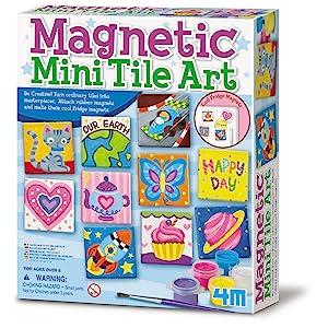 Amazon Com 4m 4563 Magnetic Mini Tile Art Diy Paint Arts Crafts Magnet Kit For Kids Fridge Locker Party Favors Craft Project Gifts For Boys Girls Toys Games