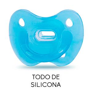 Suavinex - Chupete Smoothie todo silicona para bebés 0/6 meses. con tetina anatómica de silicona. suave y flexible, ideal para dormir. color Azul