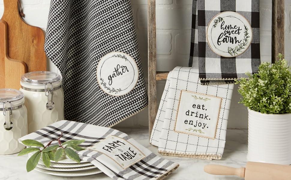farmhouse kitchen towels, oven mitts farmhouse, farm house kitchen, hand towels farmhouse