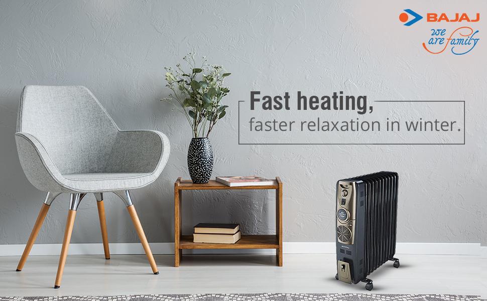 Bajaj Majesty RH 13F Plus 13-Fin 2900 Watts Oil Filled Radiator Room Heater with PTC Fan Heater