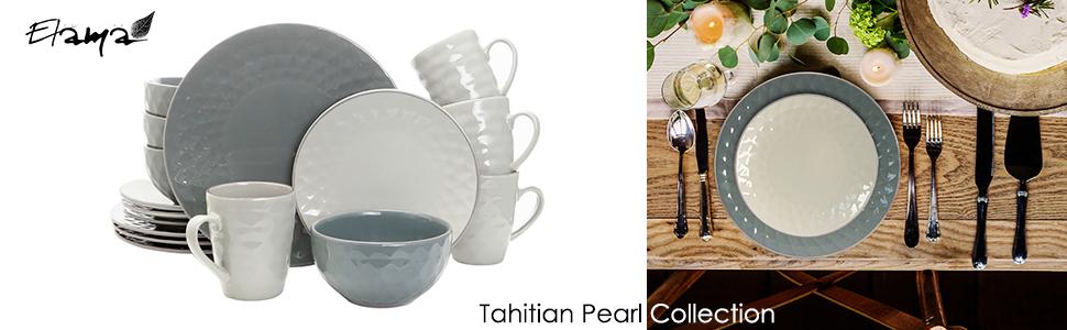 grey geometric diamond pearl embossed stoneware dinnerware dish set for 4 microwave dishwasher safe